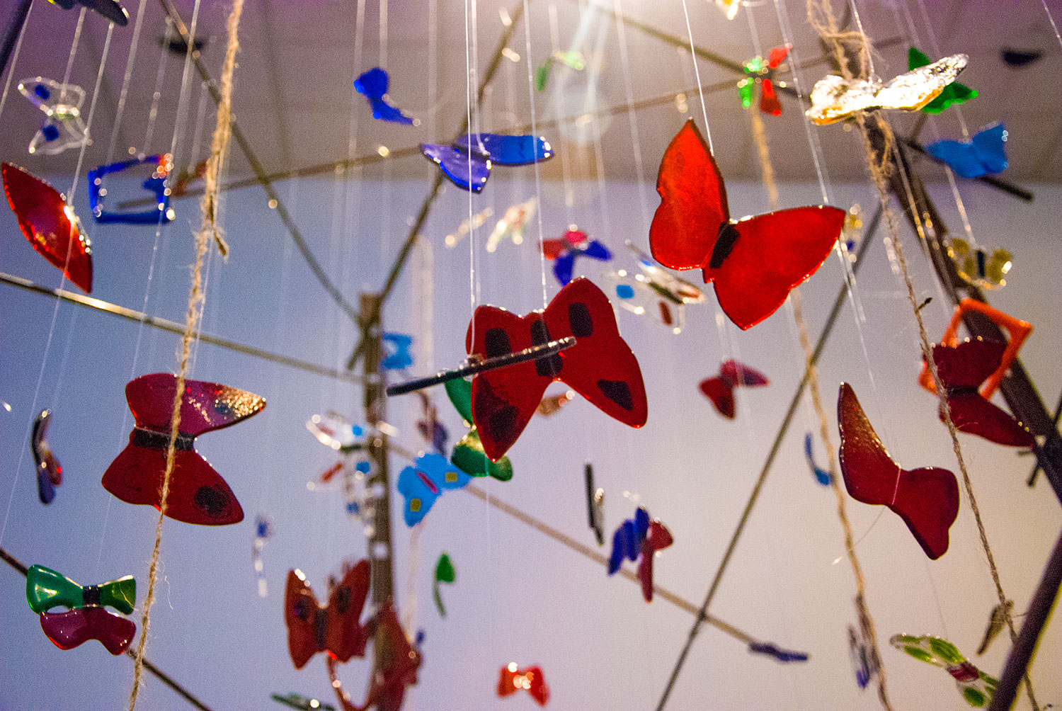 Butterflies hang in Hans Molzberger's Rubin's Colors, an art exhibit that's now located in the Carillon Gallery on South Campus.  Photos by Taurence Williams/The Collegian