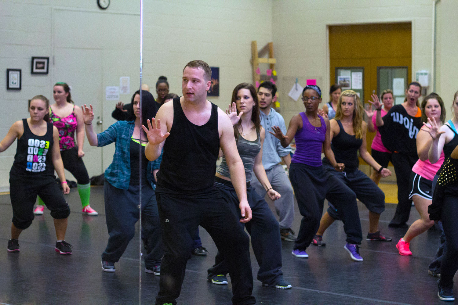 Former TCC student Brandon Mason instructs a week of dance courses where students could sign up for free to learn about hip-hop and ballet. After Mason left TCC, he was successful in New York and Los Angeles. Amy Sleigh, NW associate dance professor, said Mason was one of the first to return to NW as an alumnus during the 15 years of the NW dance program.  Photo by Yesenia Santillan/The Collegian