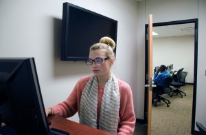 Communications student Autumn Sprabary works in one of the secluded rooms in the NE Campus speech lab, which is open to students Monday-Friday from 7:30 a.m. to 5 p.m. Students can also practice speeches in the room with lab employees. Speech labs are available on all campuses.  Photo by Georgia Phillips/The Collegian