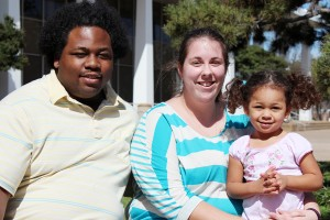Matt Fulkerson/The Collegian  Full-time mom Kelly Powe, seen here with her husband, Bobby, and daughter, Haley, is president and founder of  Parents Helping Parents on South Campus, a group for parents to share advice and concerns while going to school.