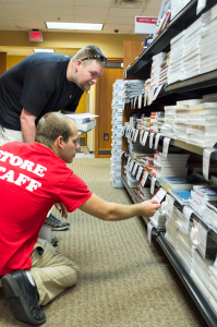 Matt Johnson and Roy Purvis look for books in the NE Campus bookstore. Katelyn Townsend/The Collegian.