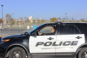 Officer Leonard Jessie patrols a NW Campus parking lot to provide a visible presence and assist any students or staff who need help jump-starting their cars or other assistance. Photo by Matt Koper/The Collegian