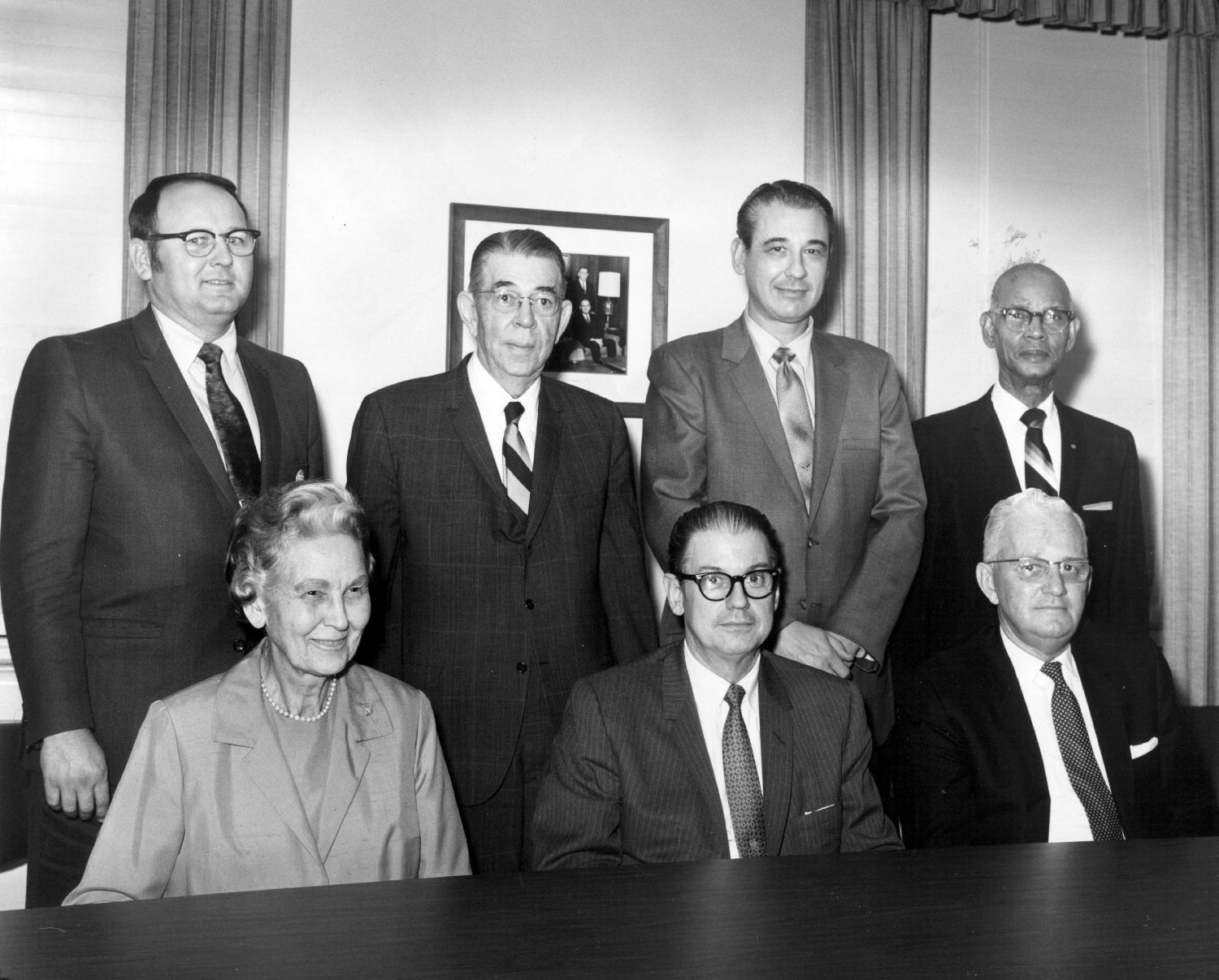 Original board members (top) Delbert Adams, Edward R. Hudson Sr., J. Ardis Bell, the Rev. L.L. Haynes, (bottom) May Owen, Jenkins Garrett and John Finn.