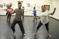 Anthony Wade and Heather Redic practice their dance routine for the Conversations in Rhythm concert. Students from all five campuses will be represented for the district event Oct. 10.Christina Feyisetan/The Collegian