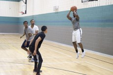 Free Agents team member Deion McKnight shoots for a basket during the game. The Free Agents went on to win the tournament, defeating Kami Squad 30-21.