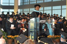 Hadley speaks at the dedication of TR Campus in 2009. Hadley was named interim chancellor that year after the departure of Leonardo de la Garza. She was made permanent in 2010.