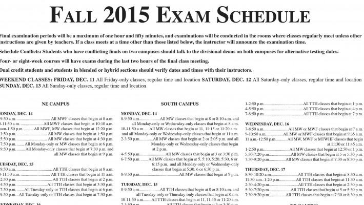 Fall 2015 Exam ScheduleBanner