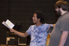 James Delk practices his lines for his character Silent Jesse. Photos by Bogdan Sierra Miranda/The Collegian