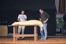 Jimmy Lunch plays a character who gets drunk before performing plastic surgery on a corpse while James Bonar mentors him on the procedure in South's play Nov. 19-21. Rick McNeely/The Collegian