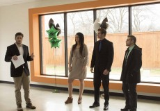 Stepping Stone founder Colin Petty introduces fellow NW students Tarrah Lott, Jeremy Brinkley and Roberto Quintanilla as they model what good business interview attire looks like in their Feb. 6 event.