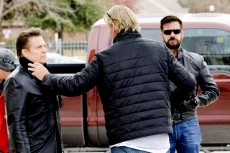 Dennis O'Neill and Lorenzo Lamas take cues from director Corbin Timbrook on set. Lamas is among other notable actors such as Marshall Teague and Anne Lockhart who have supporting roles in O'Neill's web series Bail Out.Photo courtesy Dennis O'Neill