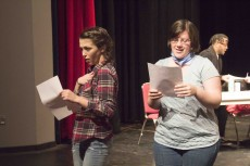 Shyane Hammel and Naomi Roundtree rehearse their male catcalls