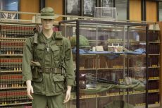 A soldier stands in full gear at the NE library exhibit A Soldier's Load. The display features items that soldiers carried into the Vietnam War and things they carried back once the war was over. The exhibit will run until Nov. 18. Photos by Katelyn Townsend/The Collegian
