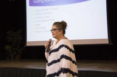 NE government assistant professor Joan Johnson speaks to students during Does My Vote Count? Oct. 20.  Leo Anderson/The Collegian