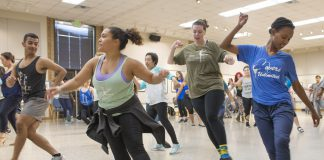 After demonstrating dance techniques, about 40 students and staff participated in the salsa dancing class on NE Campus Sept. 18.