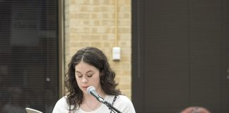 Winner Hannah Daniel reads her poem Four Summers with Ferris which is published in the journal. Right: English associate professor Rebecca Balcarcel introduces contributors during the event.
