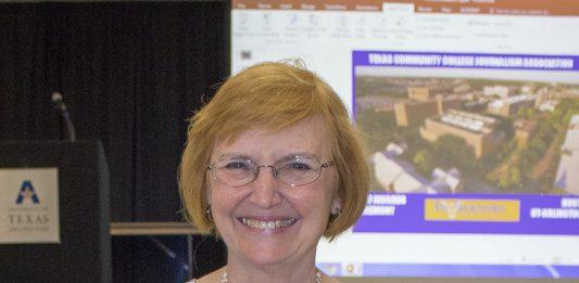 Former student publications director Eddye Gallagher holds her TCCJA award Oct. 6.