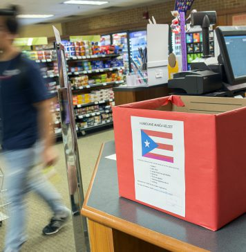 Red collection boxes are placed in locations all around NE Campus for students, staff and faculty to donate to the victims of Hurricane Maria in Puerto Rico.