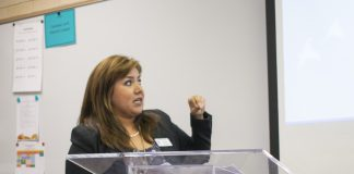 Spanish associate professor Mayra Fuentes shares her story Sept. 27 at the Latino Culture Series event on NW Campus.