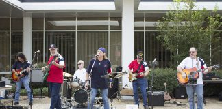 Guitars for Heroes performs at the Veterans Week Celebration Nov. 6 on South Campus. The program helps veterans overcome difficulties through music and other activities.