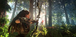 Horizon Zero Dawn's main character, Aloy, targets a Watcher, a type of machine players battle in the open world RPG set in a post-apocalyptic future.