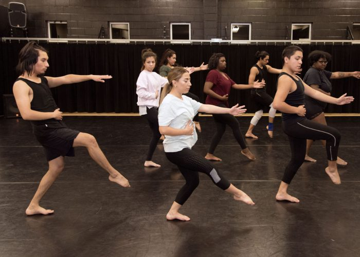 Members of SE's Fusion Dance Company rehearse for the Dec. 8 Dance Works concert. For many students, this concert is the first time they will perform onstage.
