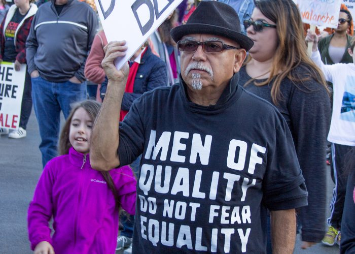 Robert Bonilla of continuing education workforce services joins other demonstrators Jan. 20 in Fort Worth.
