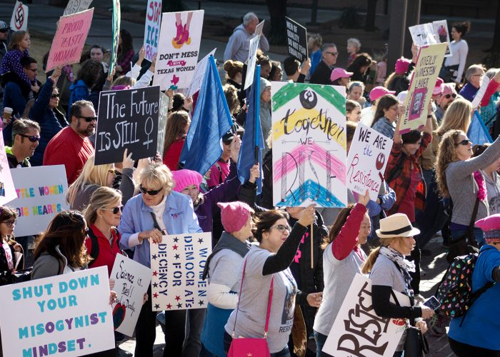 People from various walks of life and across varying genders attend the Women's March Jan. 20 in downtown Fort Worth. Organizers estimated 5,000 supporters took to the streets to show their support for women's rights.