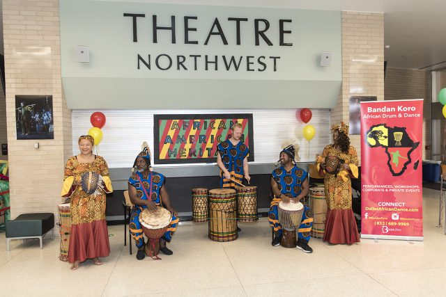 The drummers and dancers perform in the WFAB lobby in honor of Black History Month on NW Campus.