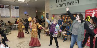 NW students join in dancing with the Bandan Koro traditional African drummers Feb. 7.