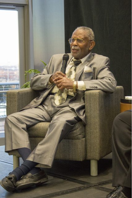 L. Clifford Davis talks about his involvement in the legal challenges of the Civil Rights Movement in Fort Worth during the dinner discussion on TR Campus Feb. 8.