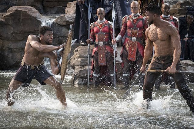 King T'Challa faces off with antagonist Erik Killmonger, who has his eyes on the Wakandan throne. Killmonger, born in America, comes to Wakanda as an outsider.