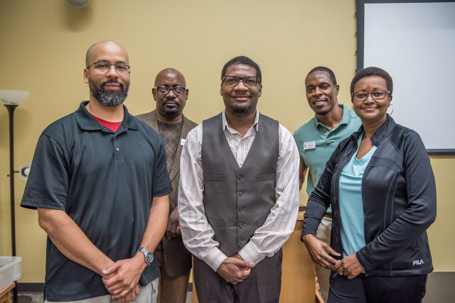 Chris Battle, Jason Foreman, Arlandis Jones, Randall Weatherspoon and Deborah Thomas make up a panel of veterans who discussed African-Americans' history in the U.S. military Feb. 13 on SE Campus.