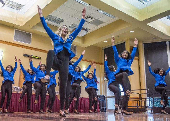 The SE Music Club performs at the campus' Black History Month Celebration Feb. 20 before former Chicago Bears football player Caesar Rentie delivered the keynote speech.