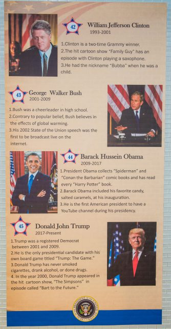Some of the presidents featured on the SE wall are presidents of the last 20 years, including current U.S. president Donald Trump.