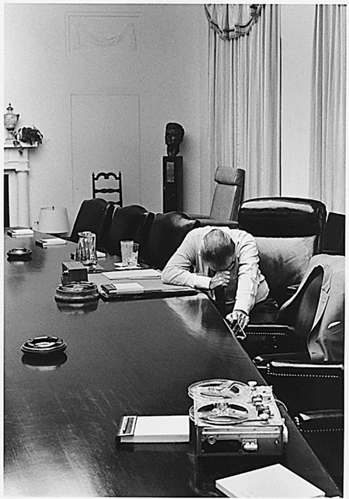 President Lyndon Johnson works during his final days at the White House in 1968. He chose not to seek another term as the Vietnam War became more unpopular.