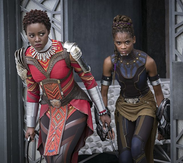 Nakia (Lupita Nyong'o) and Shuri (Letitia Wright) prepare themselves for a fight in Marvel Studios' Black Panther.