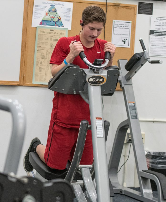 SO student Wayne Watson uses the CorePro machine at the fitness center at SO Campus on Feb. 15.