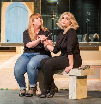 Photos by Lacey Phillips/The Collegian NE students Ariana Stephens and Abigail Morton practice for The Merchant of Venice, which will run Feb. 28-March 3 in the NFAB theater.