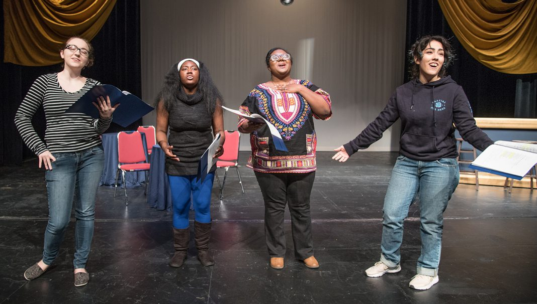 South students Kristen Clay, Shania Boo'ty, Danielle Davis and Angelica Mora rehearse a part in Club Lit., a play coming to South Campus at 7:30 p.m. Feb. 15-16.