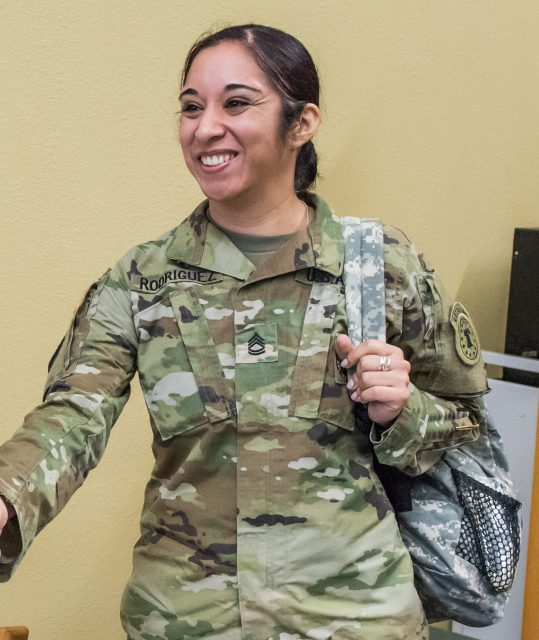 Vanessa Rodriguez, a recruiter from the U.S. Army, came to the lecture.