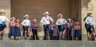 """The Ballet Folklorico Azteca company performs its piece """"Baja California"""" during the district dance concert Merge April 12 at Sundance Square Plaza in downtown Fort Worth."""