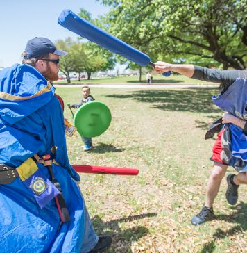 """Benjamin Brace of Benbrook battles Donny """"Peasant"""" Neff during a live action role play of a scene from Dr. Who at the South Campus Anime Convention April 14. The two-day event celebrated all things anime and gaming. See more on page 10."""