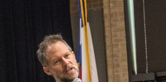 Voice actor Chuck Huber answers students' questions during a NE event April 18.