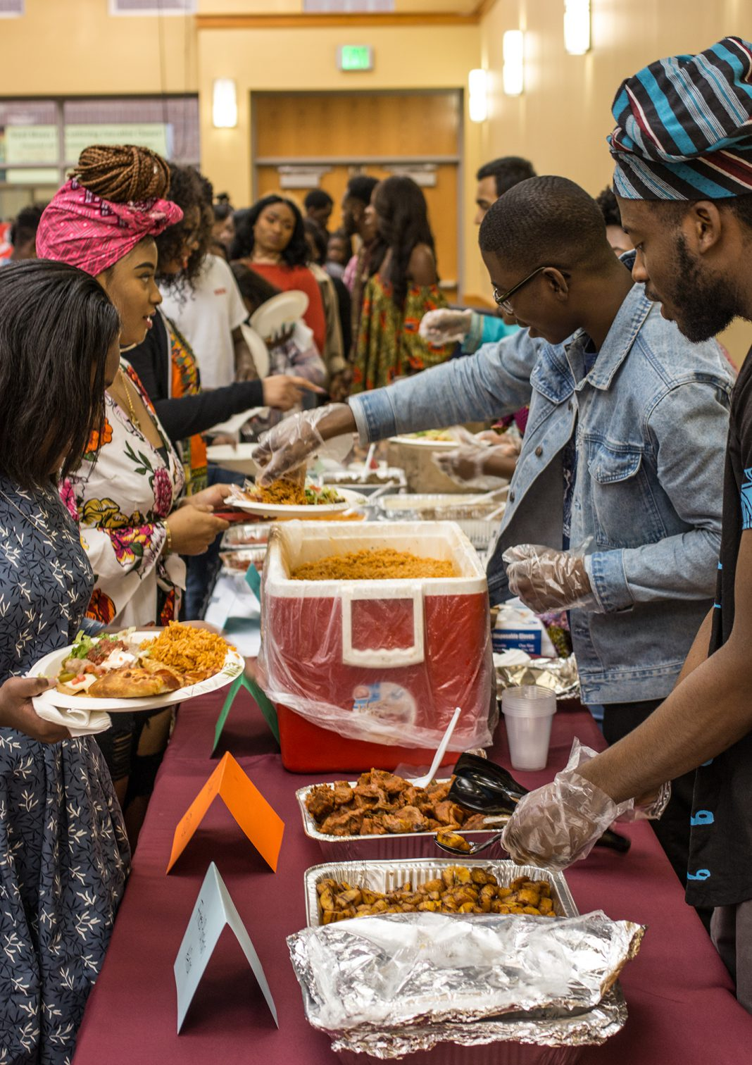SE students join together to share a meal for Multicultural Day on April 4. The event was hosted by the African Culture Club and featured traditional African foods.