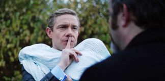 Mike Priddle, a businessman played by Martin Freeman, questions the motives and past of Professor Goodman, played by Andy Nyman. The conversation occurs during Priddle's story in the anthology horror film.