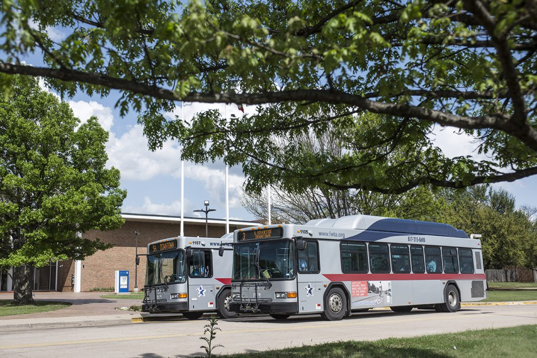 Buses stop at South Campus to pick up and drop off students going to class. NE and SE will soon have bus service as well.