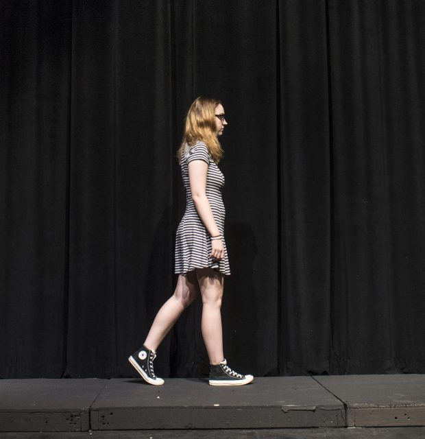 "South student Kristen Clay practices her footwalks for her scene in ""Footfalls"" during a rehearsal March 29."