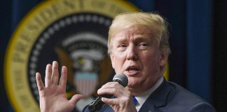 President Donald Trump speaks at a Washington, D.C. event March 22. At a Cleveland speech March 29, he said community colleges were synonymous with vocational schools.