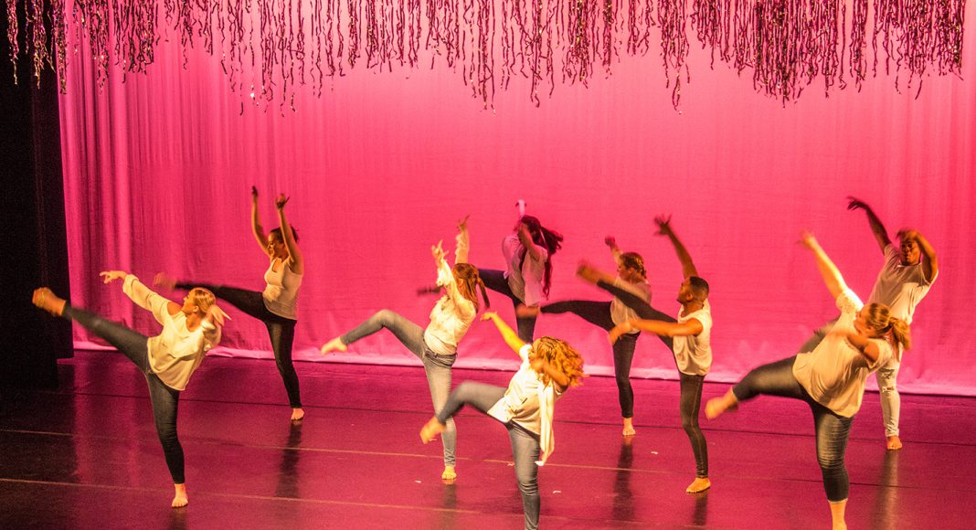 South dancers perform April 27 on the main stage in South's Performing Arts Center. The program featured the campus' dance company and various styles of dance.